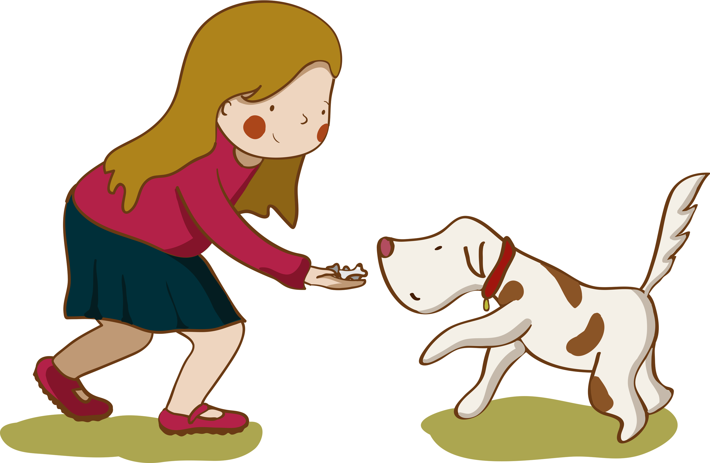 Dog Showing Cat Tto Get Food Cartoon